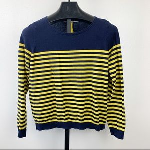 Boden Striped Sweater Crew Neck Blue Yellow